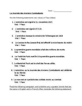 Worksheet/ vrai/faux to go with La Journée des Anciens Combattants ppt