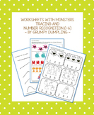 Worksheets with Monsters - Tracing and Number Recognition