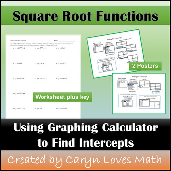 x- & y-intercepts for Square Roots using Graphing Calculat