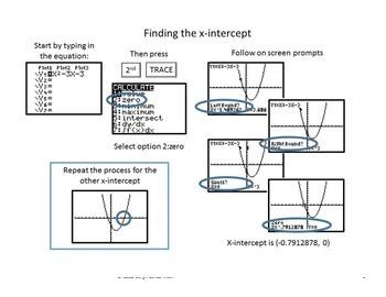 Vertex of QUADRATICS Equation: X- & Y-intercepts~Graphing Calculator~Poster