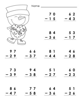 Worksheets • 2-Digit Addition & Subtraction with Regrouping • Winter Snowmen