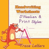 Worksheets 4 Handwriting Practice: D'Nealian/Print Style - Trace Letters