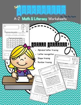 Math & Literacy Worksheets A-Z Set 1