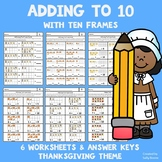 Worksheets - Adding to 10 with Ten Frame Cards