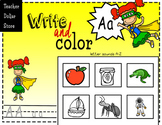 Worksheets/  Beginning Sounds : Color and Write