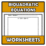 Worksheets - Biquadratic equations - Ecuaciones bicuadradas