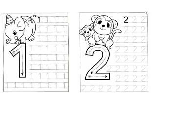 Worksheets Numbers 1-10 Tracing Preschool/ Kindergarten KG ...