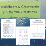 "Worksheets & Crosswords: ""ight"", ""ow/ou"", and ""aw/au"" Words"