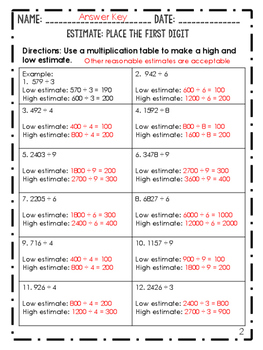 Worksheets: Divide Whole Numbers Grade 5