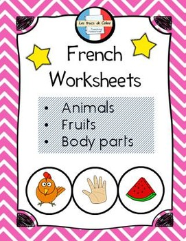 Worksheets French Animals - body parts - fruits