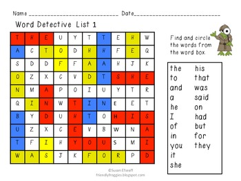 Word Work - Word Searches- Froggy Went a Reading!