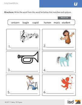 Worksheets - Long Vowel Sounds - U