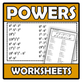 Worksheets - Operations with powers - Operaciones con potencias