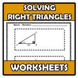 Worksheets - Solving right triangles - Resolución de trián