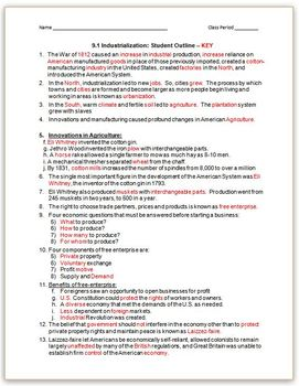 """INDUSTRIALIZATION:Worksheets-Student Outline Use_w/PowerPoints_""""Industr_Day 1&2"""""""