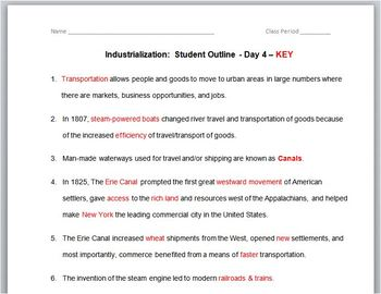"""INDUSTRIALIZATION:Worksheets-Student Outline Use_w/PowerPoint_""""Industrial-Day 4"""""""