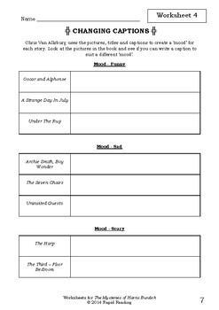 Worksheets for THE MYSTERIES OF HARRIS BURDICK - Chris Van Allsburg Picture Book