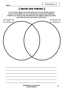 Worksheets for THE QUINKINS - Dick Roughsey - Aboriginal Dreamtime Story