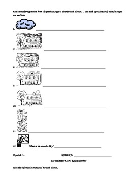Weather Expressions in Spanish Worksheet