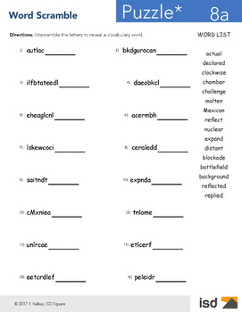 Worksheets- Word Scramble - 2nd Grade National Vocabulary