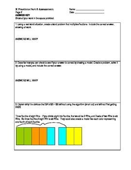 Multiplying Fractions Worksheets or Assessments