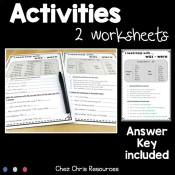 Worksheets and Clothespin Clip Cards - WAS - WERE