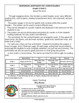 Worksheets and Posters for Wonders Leveled Readers Grade 2 Unit 2