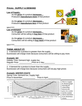 Worksheet explaining what affects supply and demand - economics