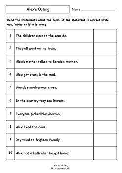 Worksheets for ALEX'S OUTING by Mary Dickinson - Comprehension & Vocab Focus