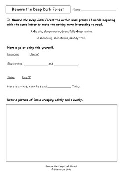 Worksheets for BEWARE THE DEEP DARK FOREST by Sue Whiting & Annie White