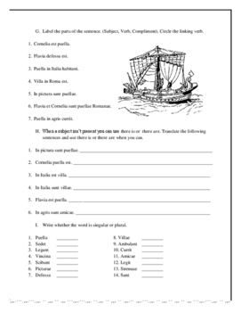 Worksheets for Chapter 1 and 2 Ecce Romani