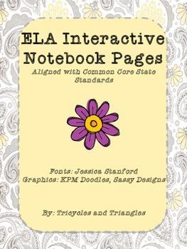 Worksheets for ELA Interactive Notebooks Grades K-3- align