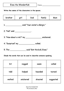 Worksheets for ENZO THE WONDERFISH by Cathy Wilcox - Comprehension & Vocab