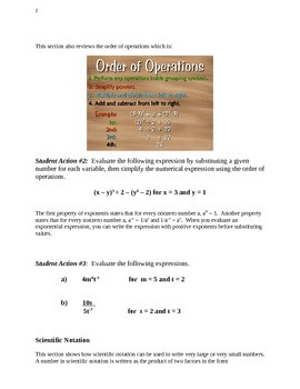 Exponent lesson and story problem worksheets