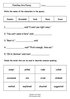 Worksheets for FAMILIES ARE FUNNY by Nan Hunt & Deborah Niland - Comprehension