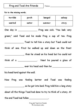 photo about Frog and Toad Are Friends Printable Activities referred to as Worksheets for FROG AND TOAD ARE Close friends through Arnold Lobel - Knowledge  Vocab