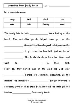 Worksheets for GREETINGS FROM SANDY BEACH by Bob Graham - Comprehension & Vocab