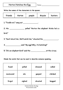 Worksheets for HORTON HATCHES THE EGG by Dr. Seuss - Comprehension & Vocab