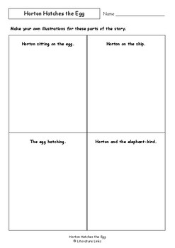 Worksheets for HORTON HATCHES THE EGG by Dr. Seuss - Comprehension ...