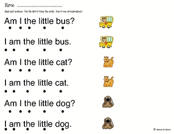 Worksheets for I Am Little book