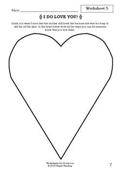 Worksheets for KOALA LOU - Mem Fox - Picture Book Literacy