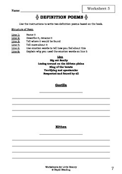 Worksheets for LITTLE BEAUTY - Anthony Browne - Picture Book - Literacy