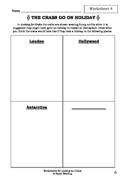 Worksheets for LOOKING FOR CRABS - Bruce Whatley - Picture Book - Literacy