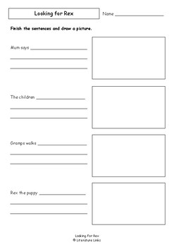 Worksheets for LOOKING FOR REX by Jan Ormerod & Carol Thompson - Comprehension