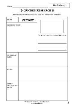 Worksheets for MEET... DON BRADMAN - Coral Vass - Picture Book Literacy