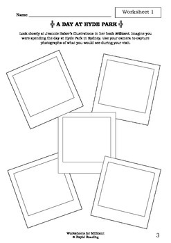 Worksheets for MILLICENT - Jeannie Baker - Picture Book - Literacy