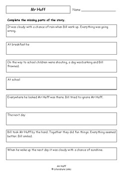 Worksheets for MR HUFF by Anna Walker - Comprehension & Vocab Activities