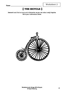 Worksheets for MULGA BILL'S BICYCLE - A. B. Paterson - Banjo Paterson - Poetry