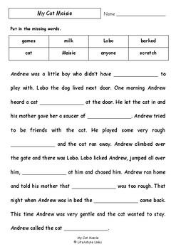 Worksheets for MY CAT MAISIE by Pamela Allen - Comprehension & Vocab Focus