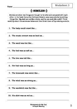 Worksheets for MY DAD - Anthony Browne - Picture Book - Literacy